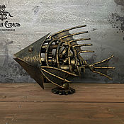 Скульптуры ручной работы. Ярмарка Мастеров - ручная работа Стимпанк Рыба из металла №3. Handmade.