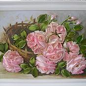 Картины и панно ручной работы. Ярмарка Мастеров - ручная работа Вышивка лентами.Розовые розы.. Handmade.