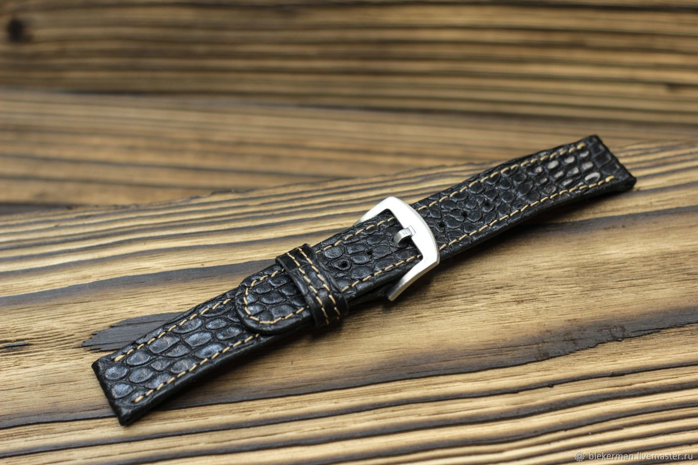 Watch straps 'Classic No. №1 - Croco black.', Watch Straps, Penza,  Фото №1