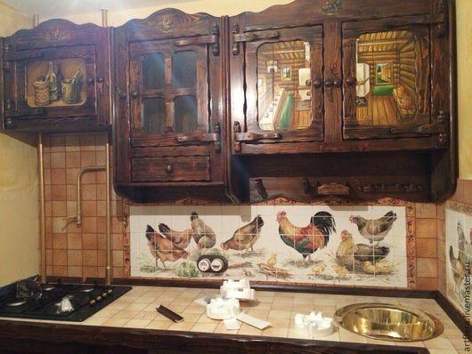 """Декор поверхностей ручной работы. Ярмарка Мастеров - ручная работа. Купить Фартук  для кухни, панно из плитки """"В курятнике"""".. Handmade."""