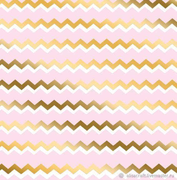 """""""Зигзаги"""" розовая бумага с золотым фольгированием, Бумага для скрапбукинга, Москва,  Фото №1"""
