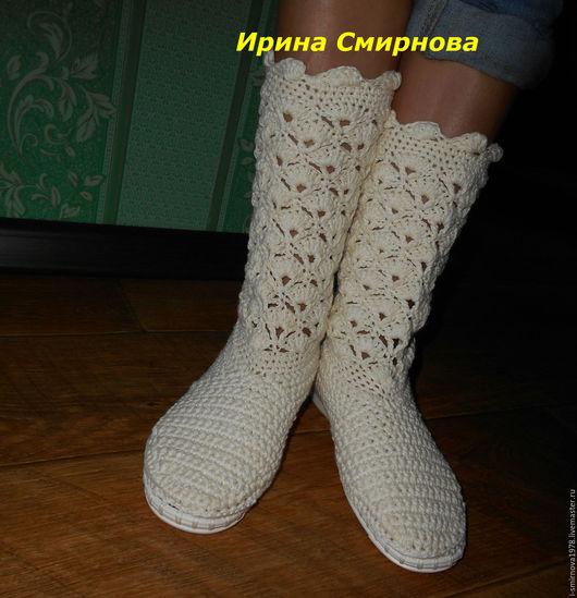 """Обувь ручной работы. Ярмарка Мастеров - ручная работа. Купить Сапожки летние""""Для тебя"""". Handmade. Бежевый цвет, летняя обувь"""