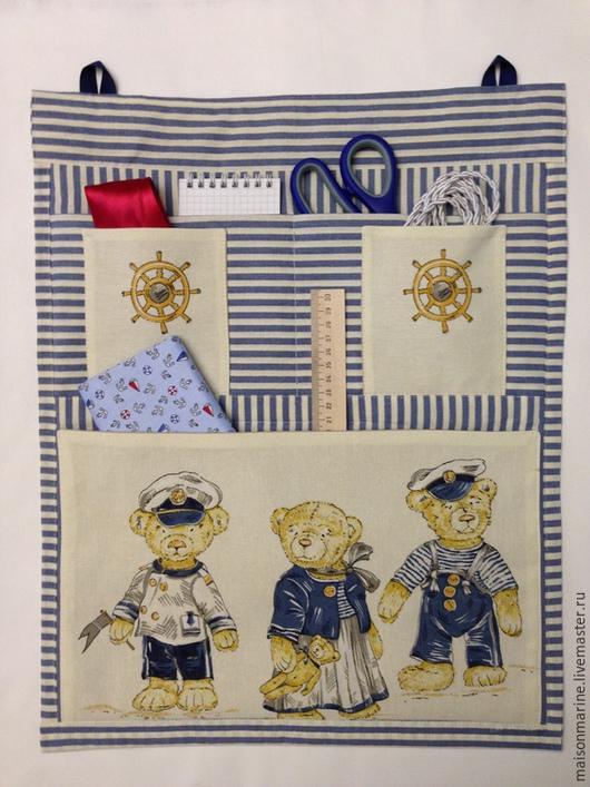 """Подвески ручной работы. Ярмарка Мастеров - ручная работа. Купить Органайзер для мелочей """"Мишки-моряки"""". Handmade. Тёмно-синий, мишки"""