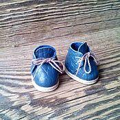 Материалы для творчества ручной работы. Ярмарка Мастеров - ручная работа Ботинки для куклы и мишки 3,5см натуральная кожа полностью. Синие.. Handmade.