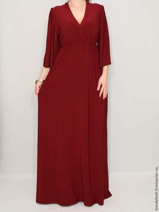 Платья ручной работы. Ярмарка Мастеров - ручная работа. Купить Бордовое платье кимоно Длинное платье в пол. Handmade.