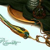 Украшения handmade. Livemaster - original item Turquoise-olive feather pendant with a twist of horn. Handmade.