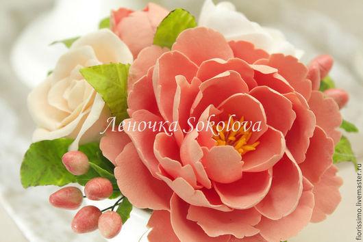 Цветы ручной работы. Ярмарка Мастеров - ручная работа. Купить Миниатюра Настроение с пионом, розой и гиперикумом. Handmade. Коралловый, миниатюра