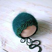 Чепчики ручной работы. Ярмарка Мастеров - ручная работа Чепчик вязаный для фотосессии новорожденной ангоровый. Handmade.