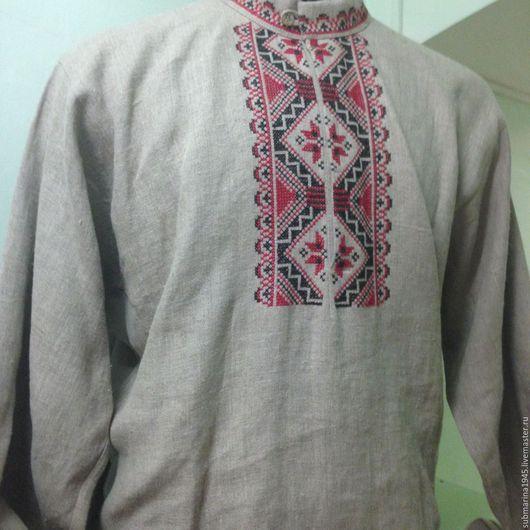Одежда ручной работы. Ярмарка Мастеров - ручная работа. Купить Мужская русская рубаха. Handmade. Серый, Вышивка крестом