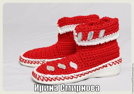 """Обувь ручной работы. Ярмарка Мастеров - ручная работа. Купить Сапожки для девочки """"ЛЕТО КРАСНОЕ"""". Handmade. Подошва тэп"""