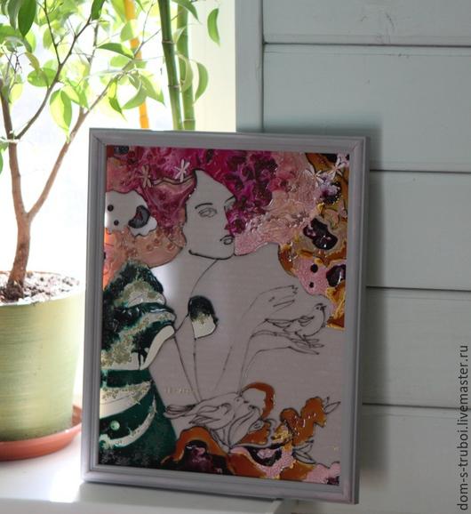 """Люди, ручной работы. Ярмарка Мастеров - ручная работа. Купить Картина из витражных красок """"Вся такая воздушная, к поцелуям зовущая... Handmade."""