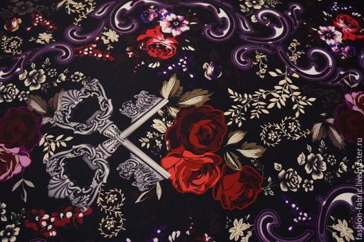 """Шитье ручной работы. Ярмарка Мастеров - ручная работа. Купить Трикотажный неопрен """"Ключи и розы"""" 2111509 ОАЭ Цена за метр. Handmade."""
