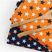 Материалы для творчества ручной работы. Ярмарка Мастеров - ручная работа Корейский хлопок (оксфорд) Звезды Оранжевые. Handmade.