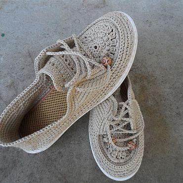 Обувь ручной работы. Ярмарка Мастеров - ручная работа Вязаные женские мокасины. Handmade.