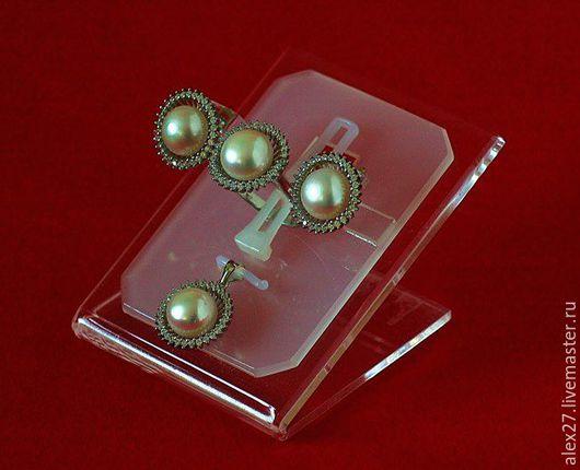 Комплект жемчуг сапфир р.18,1 серебро 925