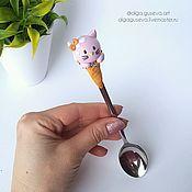 """Посуда ручной работы. Ярмарка Мастеров - ручная работа Ложка с декором """"Мороженое-зверушка"""". Handmade."""