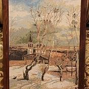 Картины и панно ручной работы. Ярмарка Мастеров - ручная работа вышивка крестом Грачи прилетели. Handmade.