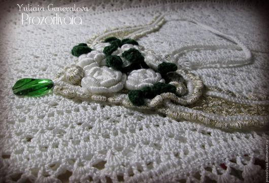 Воротничок-колье `Букет белых роз` Юлия Генералова Prozorlivaia