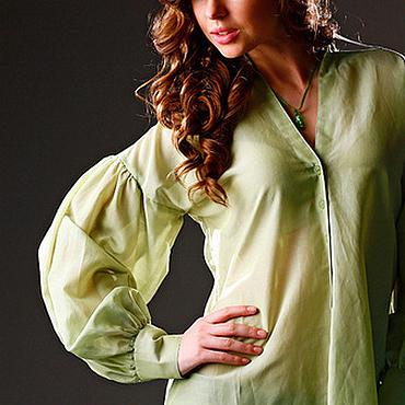 Одежда ручной работы. Ярмарка Мастеров - ручная работа Блузка салатовая батистовая. Handmade.