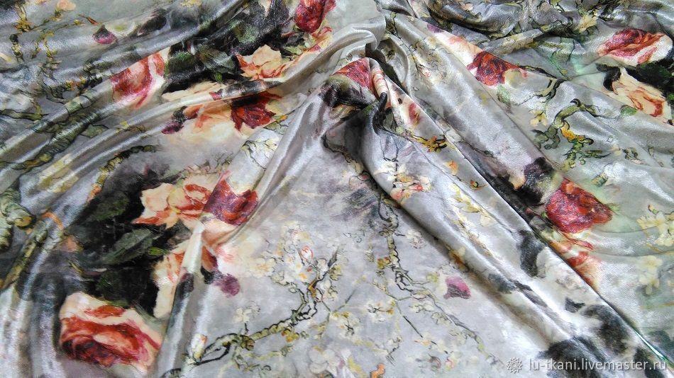 Итальянский бархат Розы, Ткани, Москва,  Фото №1