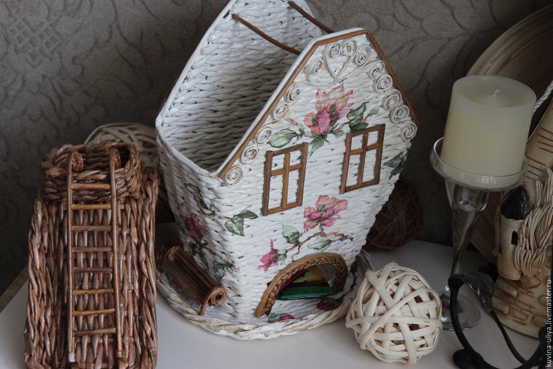 Поделка изделие Плетение Чайный домик Плетение из газет 26