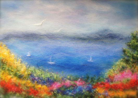 Пейзаж ручной работы. Ярмарка Мастеров - ручная работа. Купить Пейзаж- Море и цветы.. Handmade. Яркий пейзаж, пейзаж