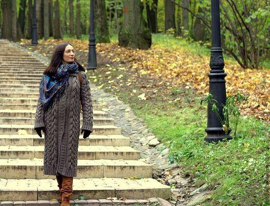 Верхняя одежда ручной работы. Ярмарка Мастеров - ручная работа. Купить вязаное пальто. Handmade. Однотонный, Весеннее пальто