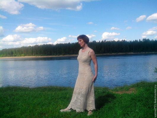 """Платья ручной работы. Ярмарка Мастеров - ручная работа. Купить Платье """"Розовый куст"""". Handmade. Бежевый, платье летнее"""