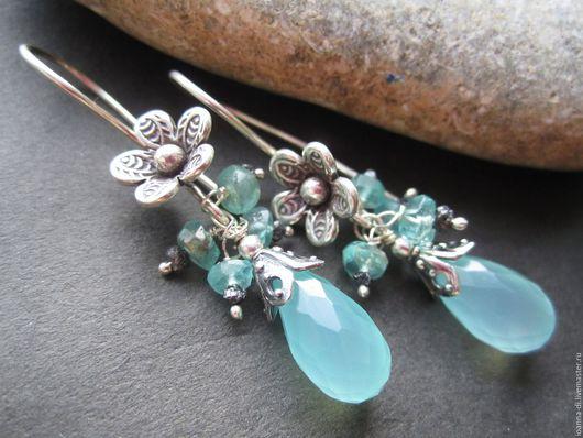 """Серьги ручной работы. Ярмарка Мастеров - ручная работа. Купить Серьги """"Нежность цветов"""" алмазы, аквамарины, халцедон. Handmade. Голубой"""