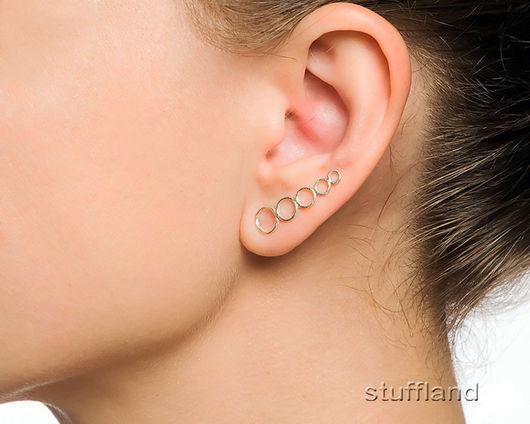 Серьги вдоль мочки уха «Кольца»