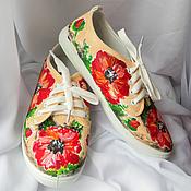 """Обувь ручной работы. Ярмарка Мастеров - ручная работа Кеды женские  """"Маки"""", кеды с рисунком, роспись кед.. Handmade."""