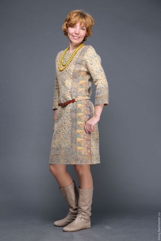 """Платья ручной работы. Ярмарка Мастеров - ручная работа. Купить валяное платье """"Индия"""". Handmade. Валяное платье, желтый, вискоза"""