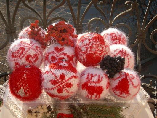 Новый год 2017 ручной работы. Ярмарка Мастеров - ручная работа. Купить Набор вязаных елочных шаров (елочные украшения). Handmade.