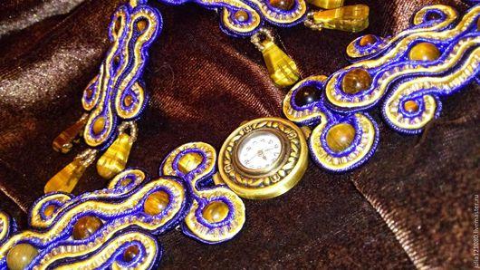 Часы ручной работы. Ярмарка Мастеров - ручная работа. Купить Комплект сутажных украшений: часы наручные + серьги. Handmade.