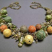 Украшения handmade. Livemaster - original item Beads Chain Necklace Autumn colors Red Green Textile Beads. Handmade.