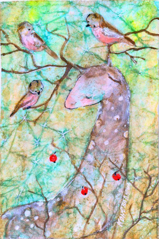 Оленьи птички. Сказочная карина- миниатюра в авторской технике исполнения . сказка в теплоте рук Алёны Коневой