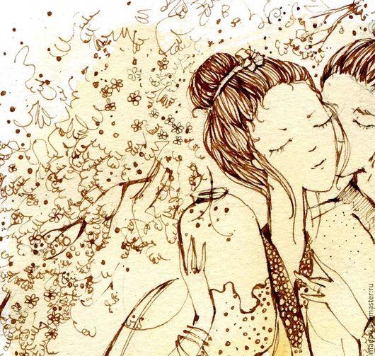 Люди, ручной работы. Ярмарка Мастеров - ручная работа. Купить поцелуй .... Handmade. Бежевый, любовь, подарок на свадьбу, на счастье, графика