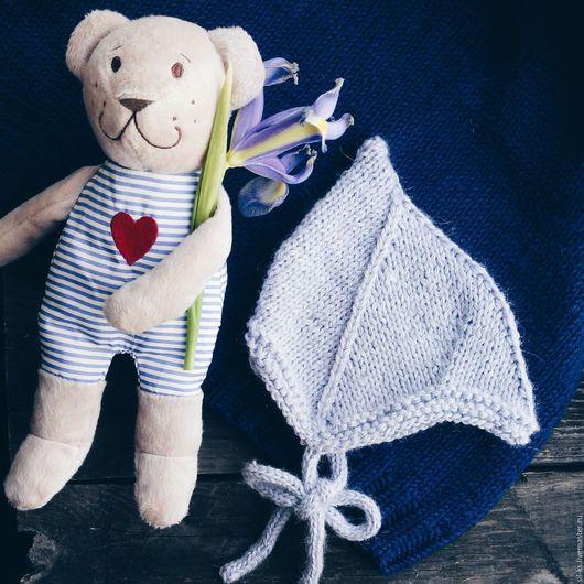 Для новорожденных, ручной работы. Ярмарка Мастеров - ручная работа. Купить Детская шапочка из бэби альпаки с шелком. Handmade. Голубой