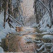 """Картины и панно ручной работы. Ярмарка Мастеров - ручная работа картина пастелью """"Зимний ручей""""/оформлена/. Handmade."""