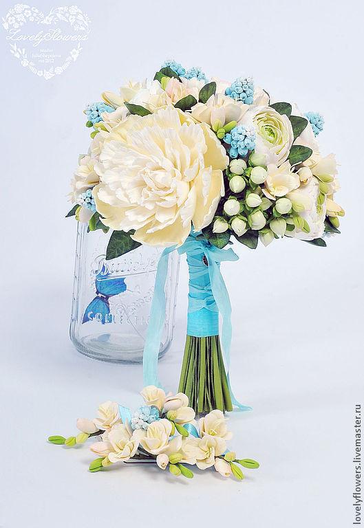Свадебные цветы ручной работы. Ярмарка Мастеров - ручная работа. Купить Букет невесты с пионами, ранункулюсами и мускари из полимерной глины. Handmade.