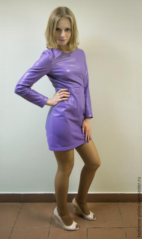 Платья ручной работы. Ярмарка Мастеров - ручная работа. Купить Кожаное платье-футляр сиреневое (фиолетовое). Handmade. Сиреневый