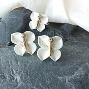 """Украшения ручной работы. Ярмарка Мастеров - ручная работа комплект """" белые бабочки"""" фарфор. Handmade."""