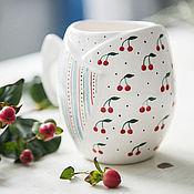 Посуда handmade. Livemaster - original item Cherry dessert... Cup handmade ceramics. Handmade.