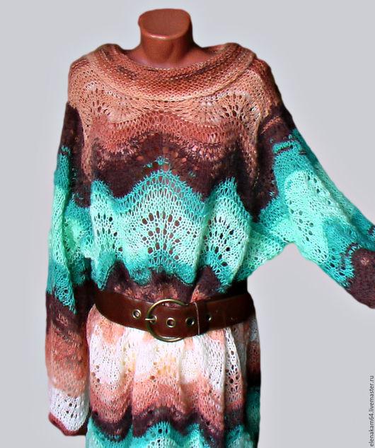 Платья ручной работы. Ярмарка Мастеров - ручная работа. Купить платье вязаное  туника в бохо стиле. Handmade. Платье, большой размер
