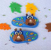Работы для детей, ручной работы. Ярмарка Мастеров - ручная работа Заколки для волос Осенние совушки. Handmade.