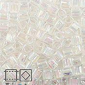 Материалы для творчества handmade. Livemaster - original item 10g 3 mm cube 161 crystal Japanese TOHO beads transparent raduz. Handmade.