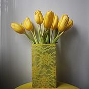 """Для дома и интерьера handmade. Livemaster - original item """"Лимонное кружево"""" ваза. Handmade."""