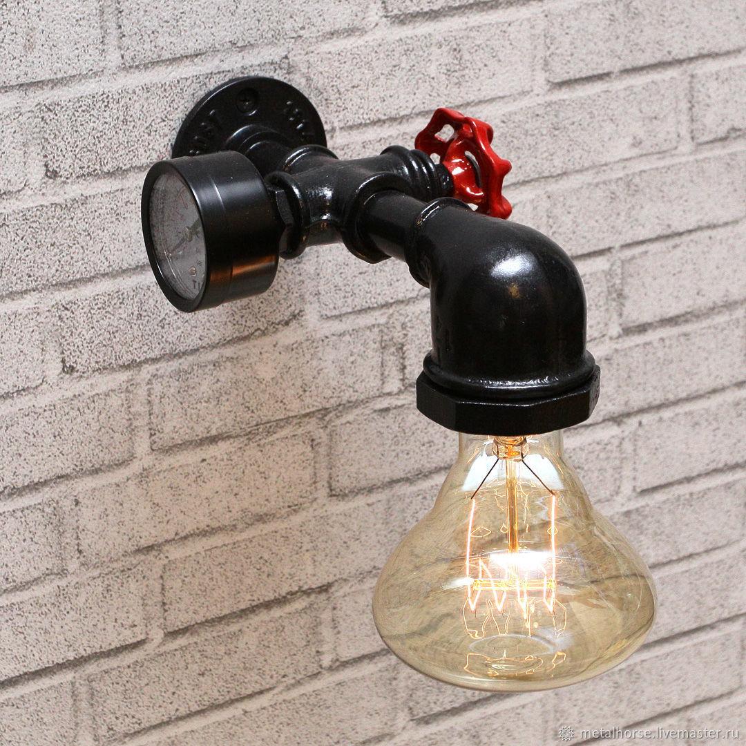 Светильник, лампа в стиле лофт, индастриал, стимпанк, ретро, Настенные светильники, Москва,  Фото №1