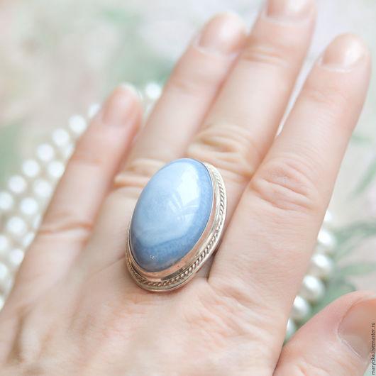 Кольца ручной работы. Ярмарка Мастеров - ручная работа. Купить Голубой агат (кольцо) (382). Handmade. Агат, природный камень