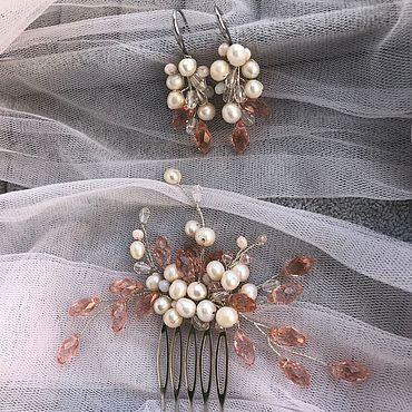 Украшения ручной работы. Ярмарка Мастеров - ручная работа Свадебный гребень и серьги. Handmade.